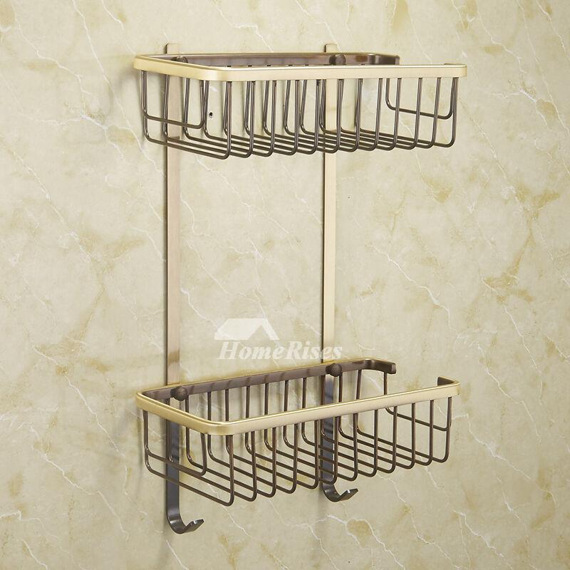 Ltj Luxury Gold Brass Wall Mounted Double Shower Caddy Basket