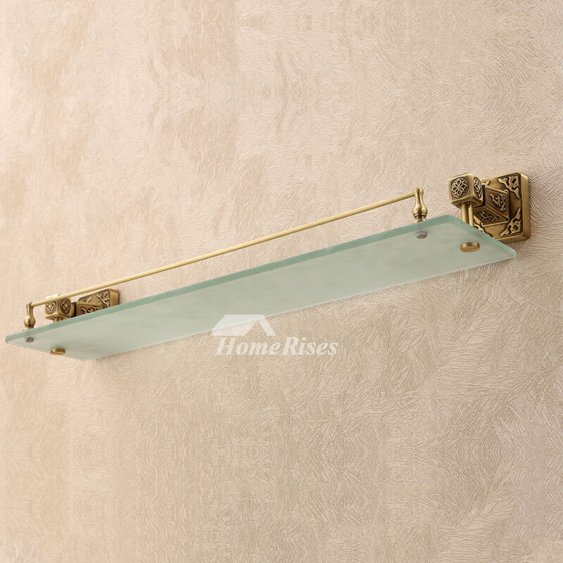 Luxury Bathroom Gold Brass Wall Mounted Glass Shower Shelves