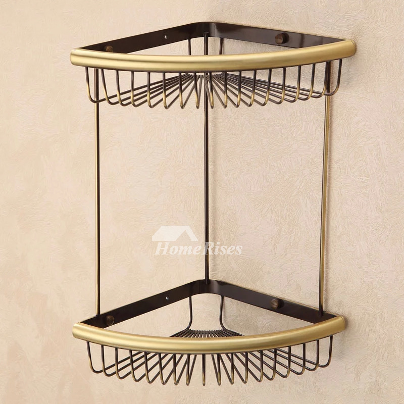 Gold Fine Brass Bathroom Corner Shelf Double Shower Caddy