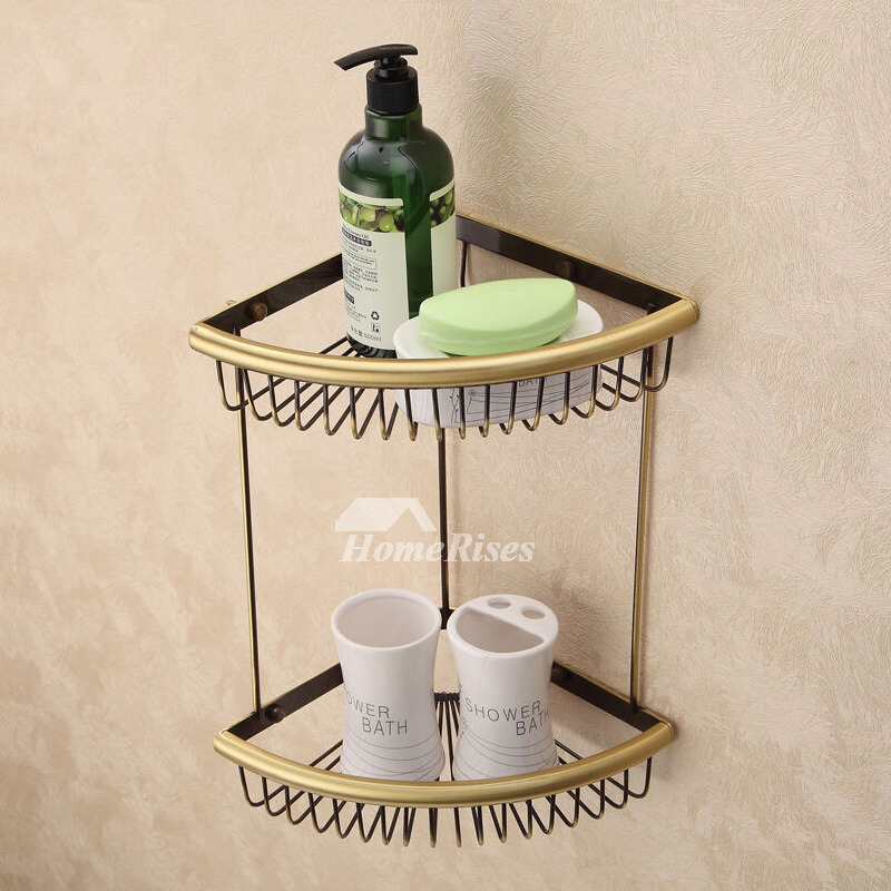 Gold Fine Brass Bathroom Corner Shelf Double Shower Caddy