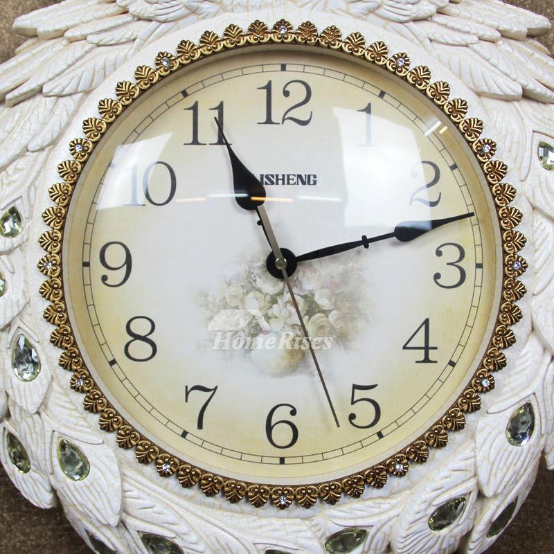 Peacock Wall Clock Best Pendulum White Green Luxury