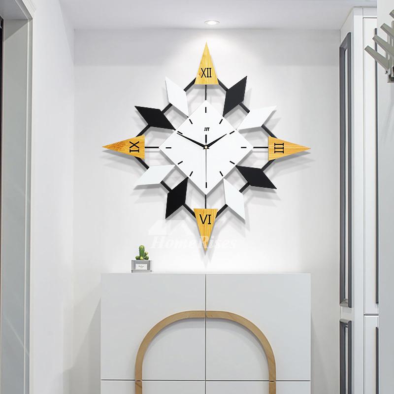 Cool Large Wall Clocks Decorative White Black Metal Silent Unique
