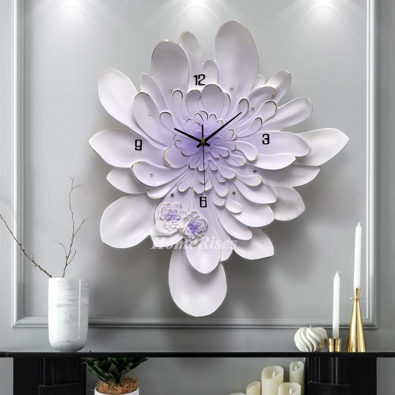 Large Wall Clocks Floral Beautiful Purple Simple Living Room Silent ...