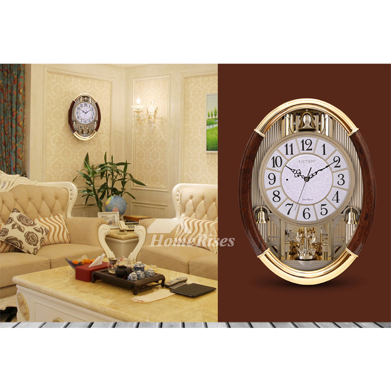 Large Wall Clocks Musical Oval Personalized Gold Luxury