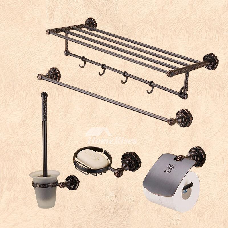Pictures Show. Black Luxury Fine Brass Towel Rack Shelf Bathroom Hardware  Sets ...