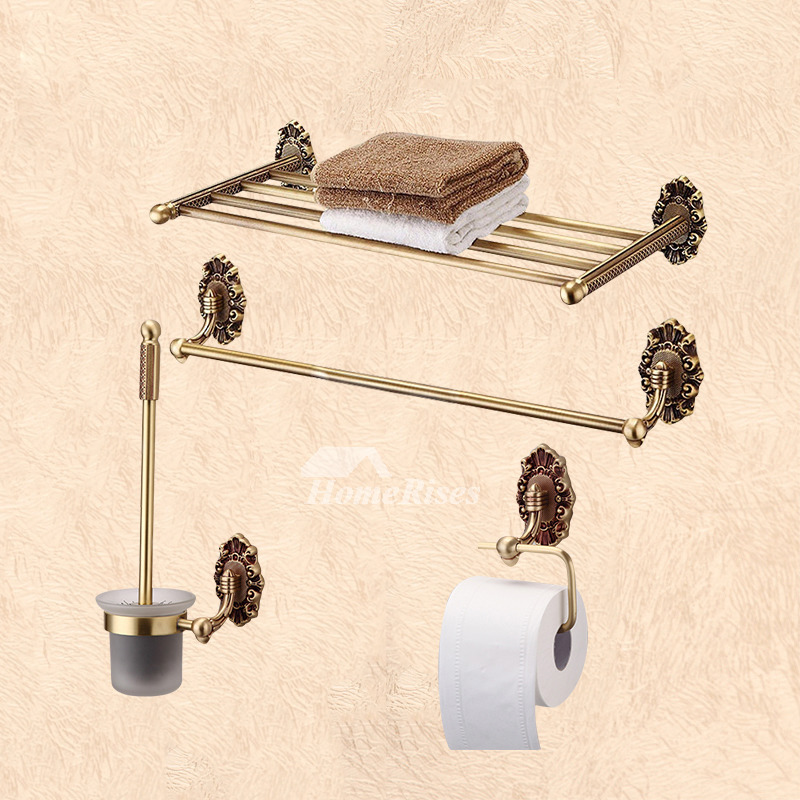 Gold Vintage Polished Brass Towel Rack Shelf Bathroom Hardware Sets