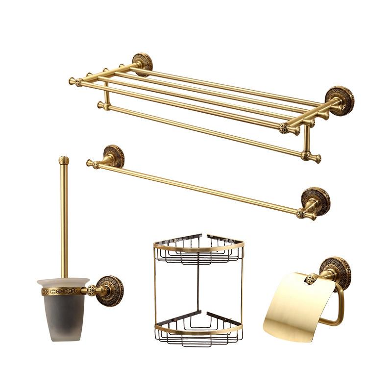 Gold Brass Towel Rack Shelf Bathroom Hardware Accessories Sets