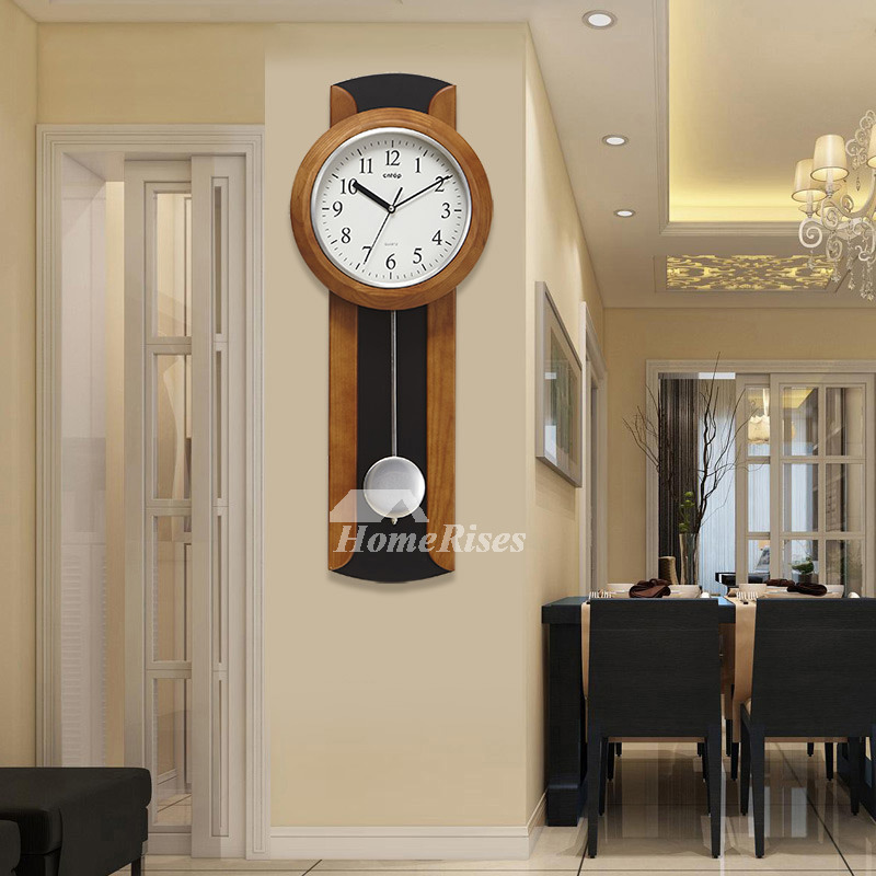 Large Pendulum Wall Clocks Rustic Wooden Decorative Black