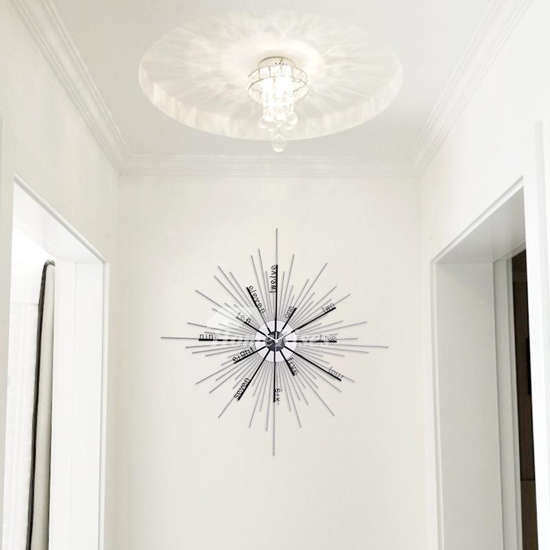 Oversized Wall Clock Starburst Unique Decorative Metal