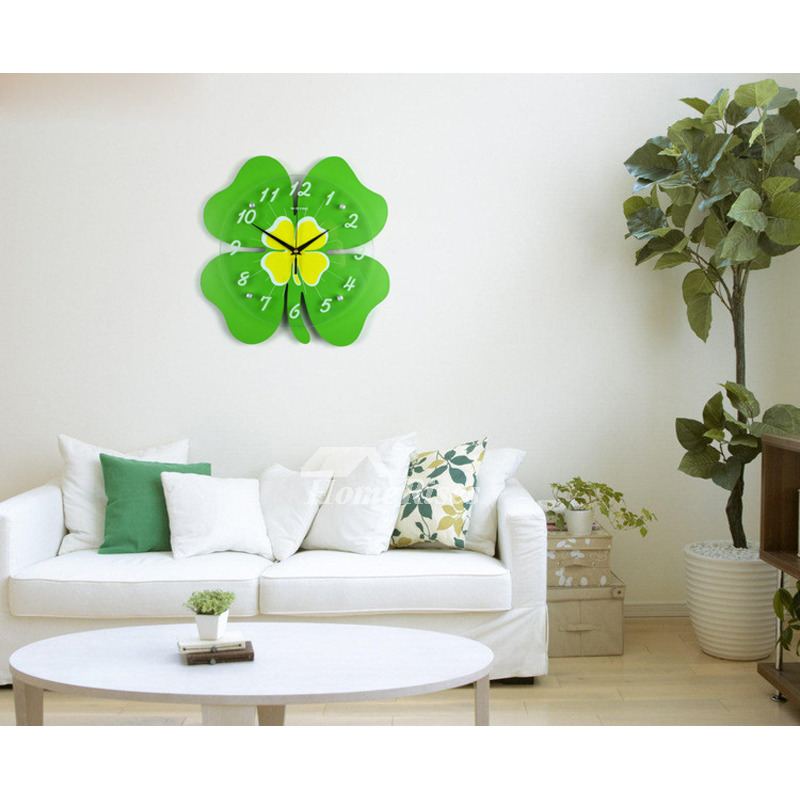 Cute Wall Clock Childrens Bedroom Silent Four Leaf Clover