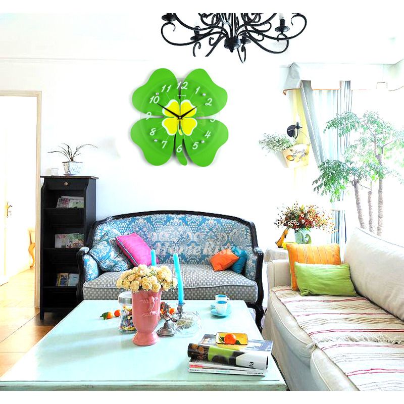 Cute Wall Clock Childrens Bedroom Silent Four-leaf Clover Glass Green