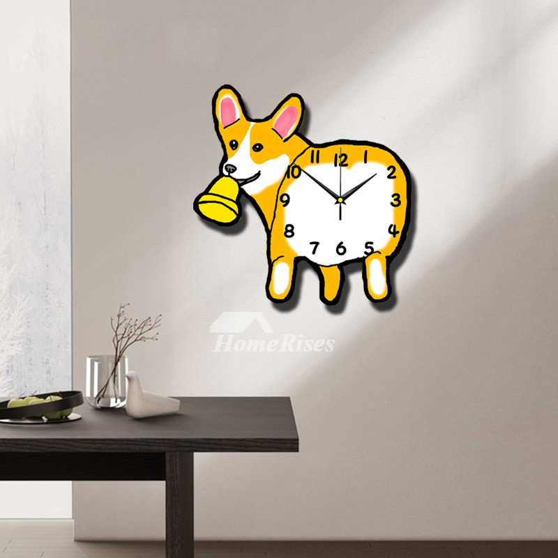 Cute Wall Clock Funny Animal Dog Kids Wooden Silent