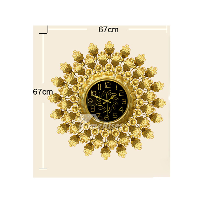 Gold Wall Clock Big Decorative Unique Personalized Iron