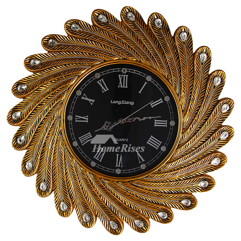 Peacock Wall Clock Luxury Large Decorative Vintage Gold