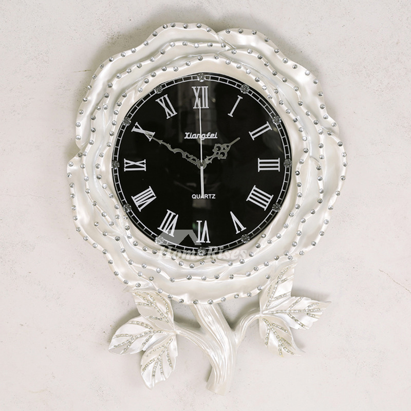Luxury Wall Clocks Fashion Large Modern Decorative Floral Gold Silver White