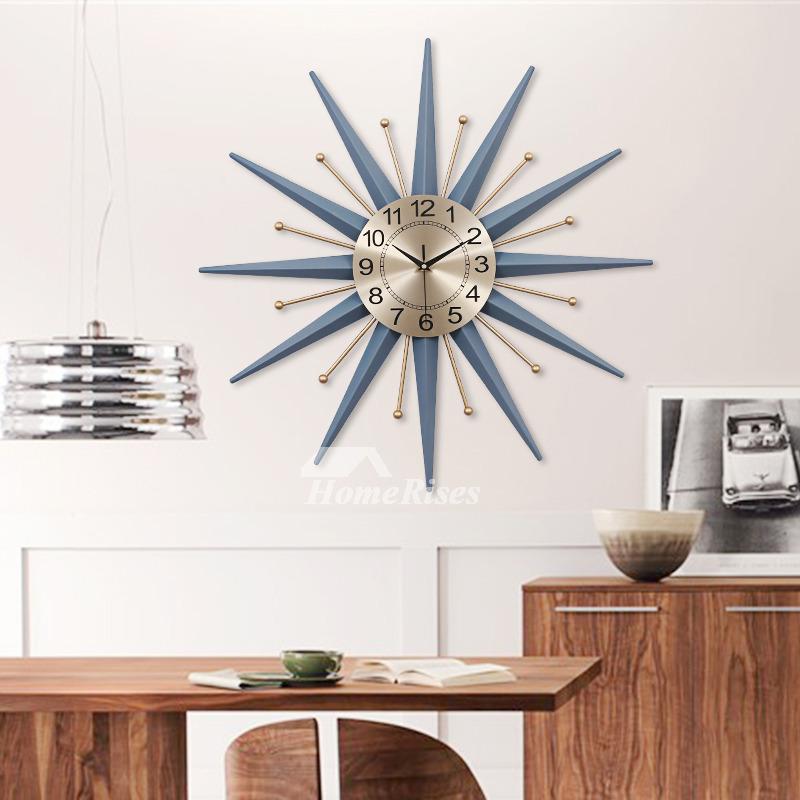 Starburst Wall Clock Modern Decorative Personalized Blue