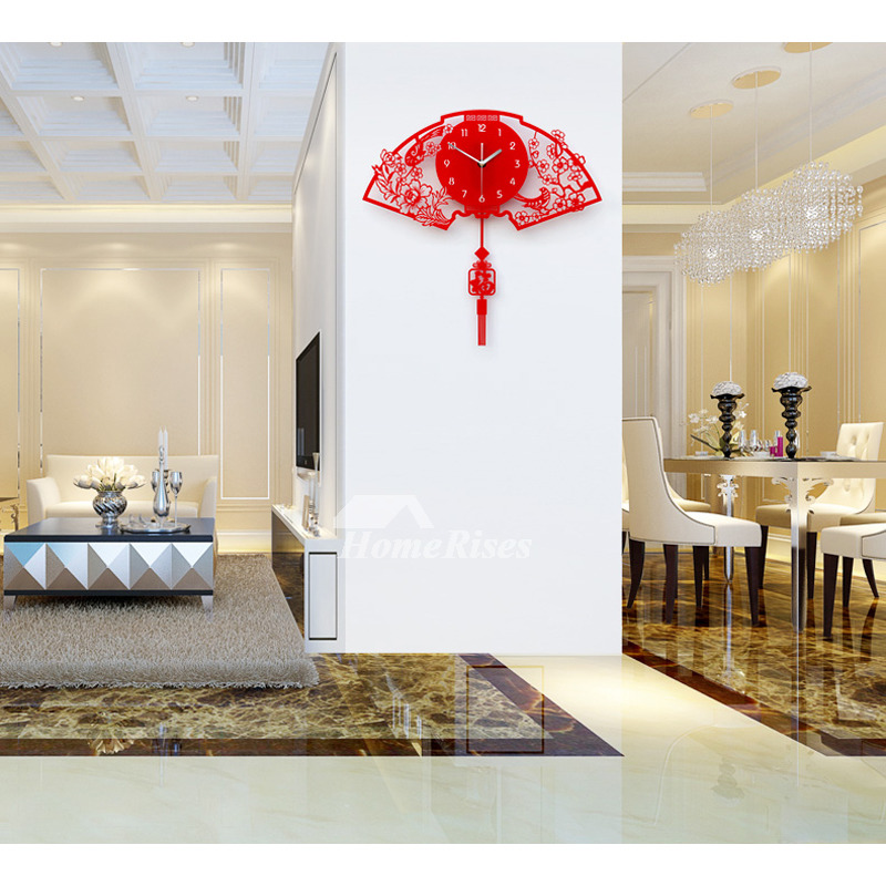 Pendulum Wall Clock Unique Decorative Red Fan Personalized Living Room