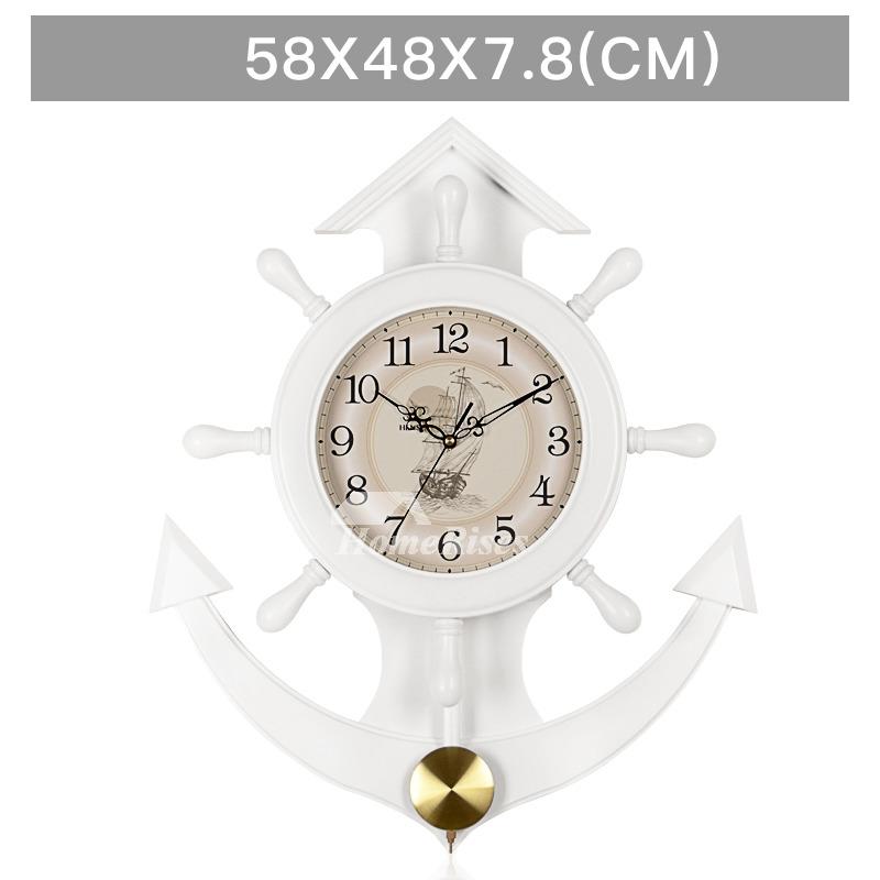 Nautical Wall Clock Decorative Wooden Pendulum Big White