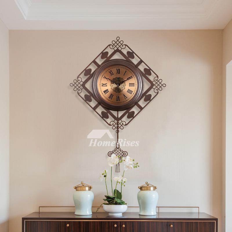 Oversized Wall Clock Decorative Vintage Pendulum Metal