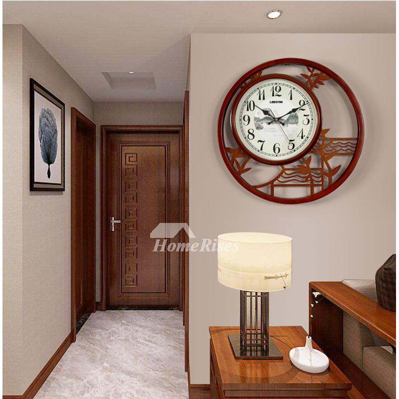 Wooden Wall Clock Decorative Unique Rustic Large Silent