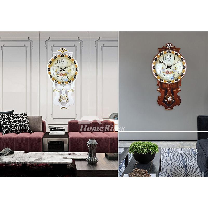 Oversized Wall Clock Pendulum Decorative Modern Wooden