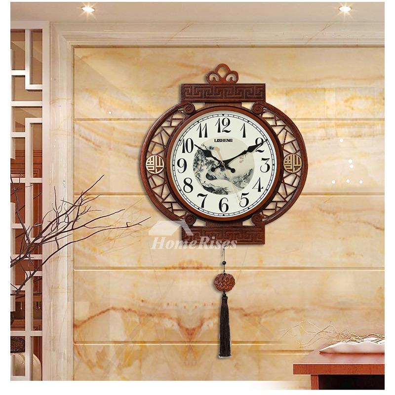 antique large decorative wall clocks unique wooden silent living room. Black Bedroom Furniture Sets. Home Design Ideas