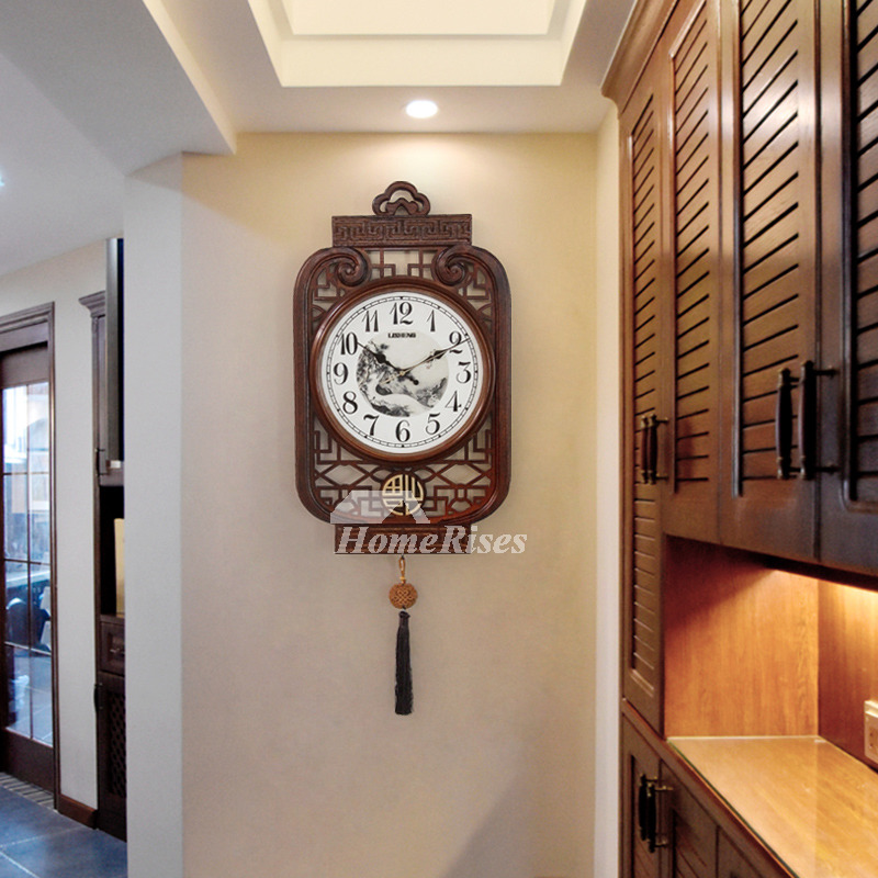 Antique Large Decorative Wall Clocks Unique Wooden Silent