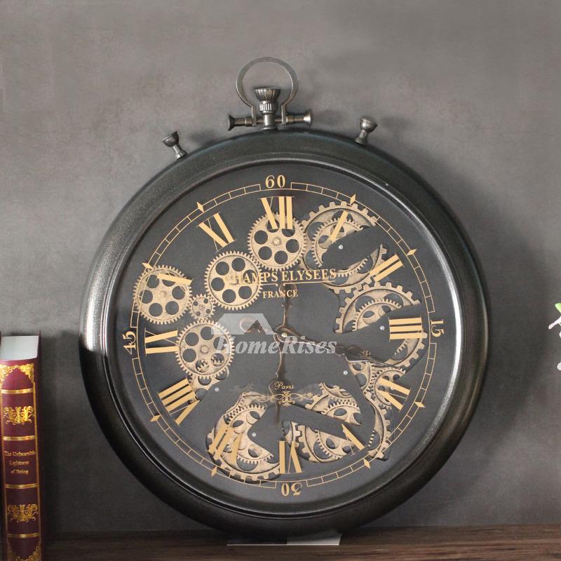 Gear Wall Clock Cool Decorative Modern Large Metal Black
