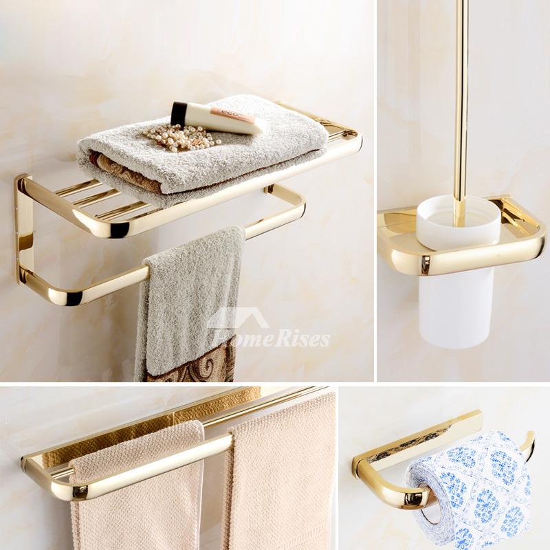 Bathroom Accessories.Polished Brass Bathroom Accessories Gold Luxury Unique Modern