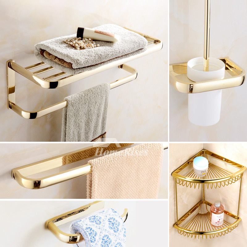 Polished Brass Bathroom Accessories Gold Luxury Unique Modern