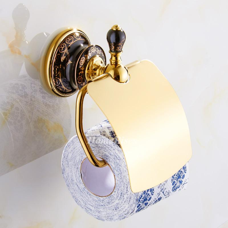 Luxury Black Ceramic Bathroom Accessories Sets Gold ...