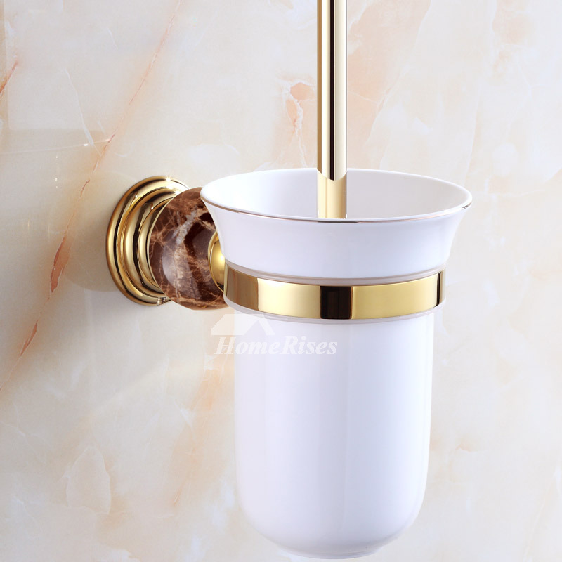 Coffee Yellow Green Marble Toilet Brush Holder Ceramic Cup