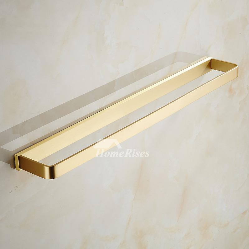 Bathroom Brushed Brass Towel Bar Gold Wall Mount Kitchen Towel Rack
