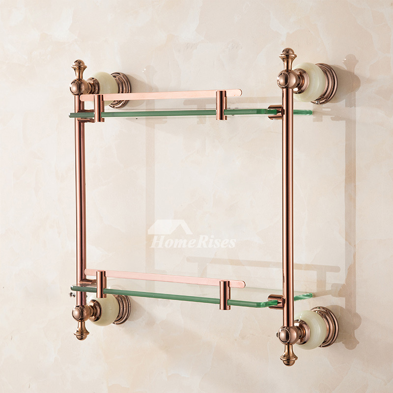 Wall Mounted Bathroom Shelves Glass Rose Gold Brass Marble