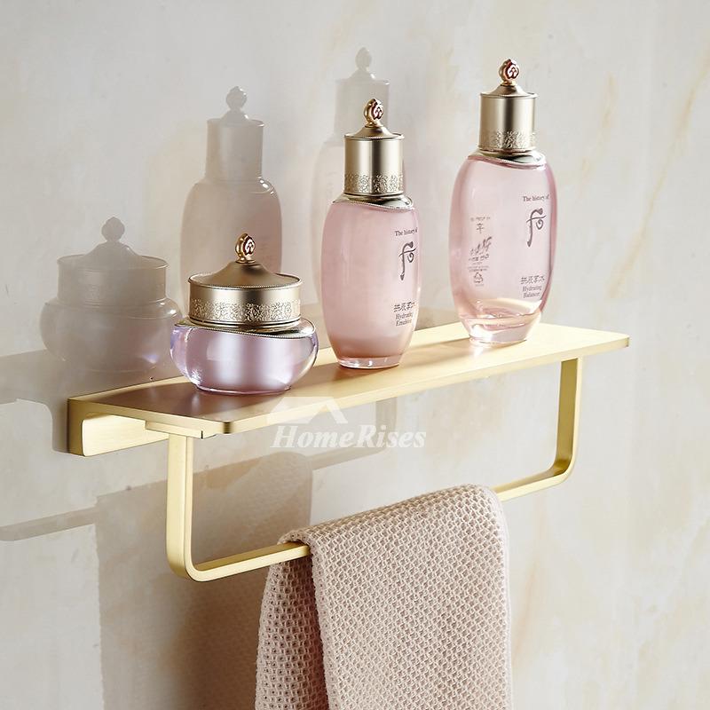Gold Solid Brushed Brass Bathroom Shelf With Towel Bar