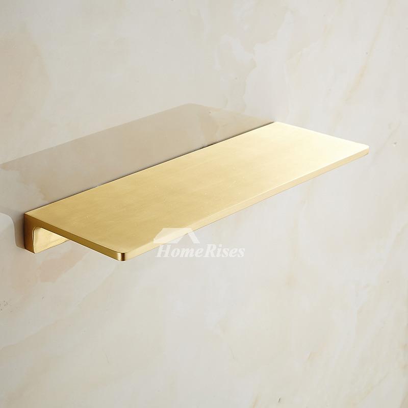 Luxury Gold Bathroom Shelves Wall Mount Brushed Brass Phone Holder