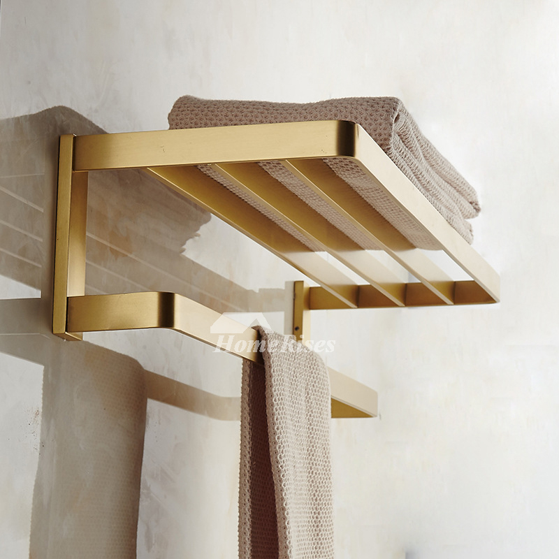 Solid Gold Wall Mount Bathroom Towel Rack With Shelf Brushed Brass