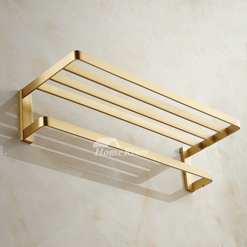 Solid Gold Wall Mount Bathroom Towel Rack With Shelf