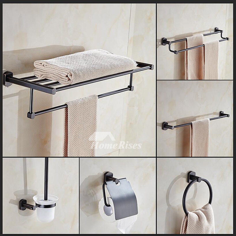 Vintage Oil Rubbed Bronze Bathroom Accessories Black Br Hardware Sets Wall Mounted Towel Rack Double Bar Toilet Paper Holder