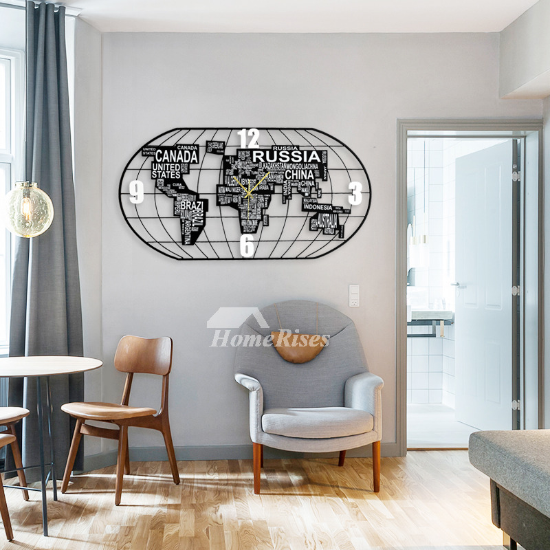 Black Personalized Wall Clocks World Map Quiet Decorative Oversized