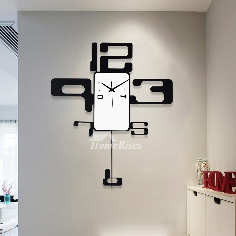Modern Minimalist Creativity Black Art Deco Wall Clock Pendulum