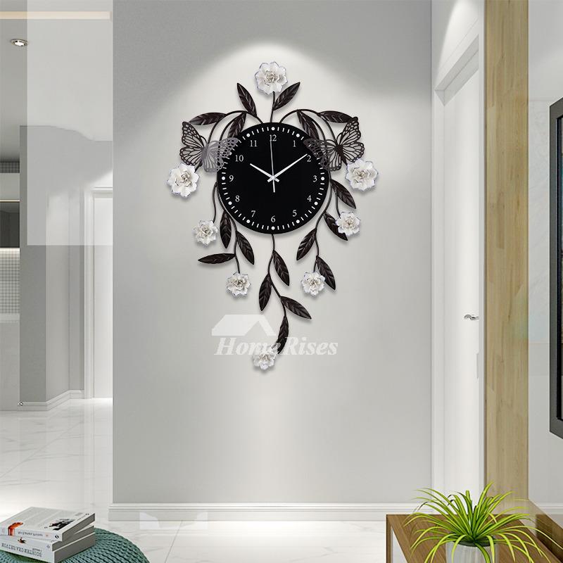 Black Simple Atmosphere Big Quartz Wall Clock Decorative Living Room