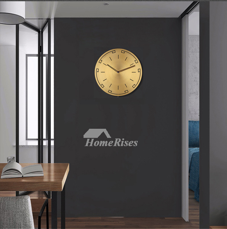 Gold Wall Clock Living Room Silent Brushed Brass Round Light Luxury