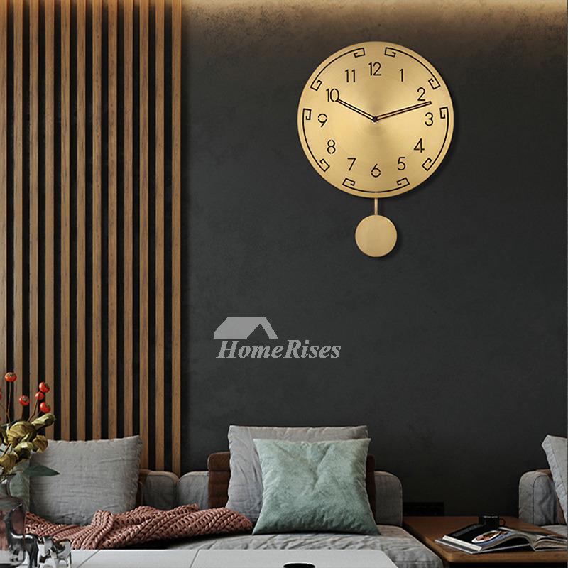 Gold Wall Clock Living Room Brass Round Light Luxury Pendulum