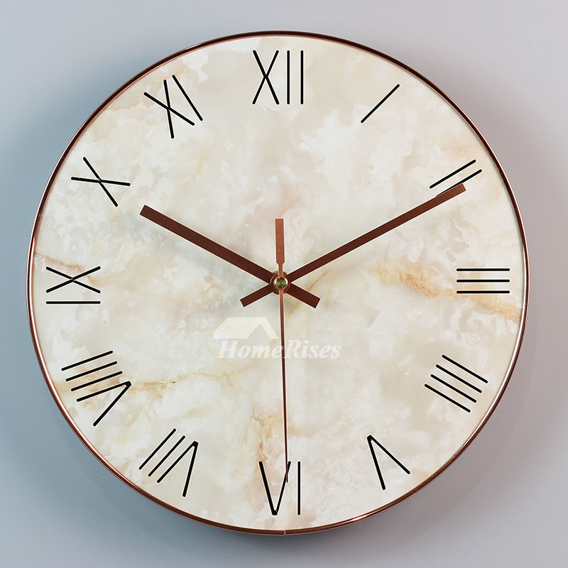 Modern Marble Simple Wall Clock Creative Bedroom Silent