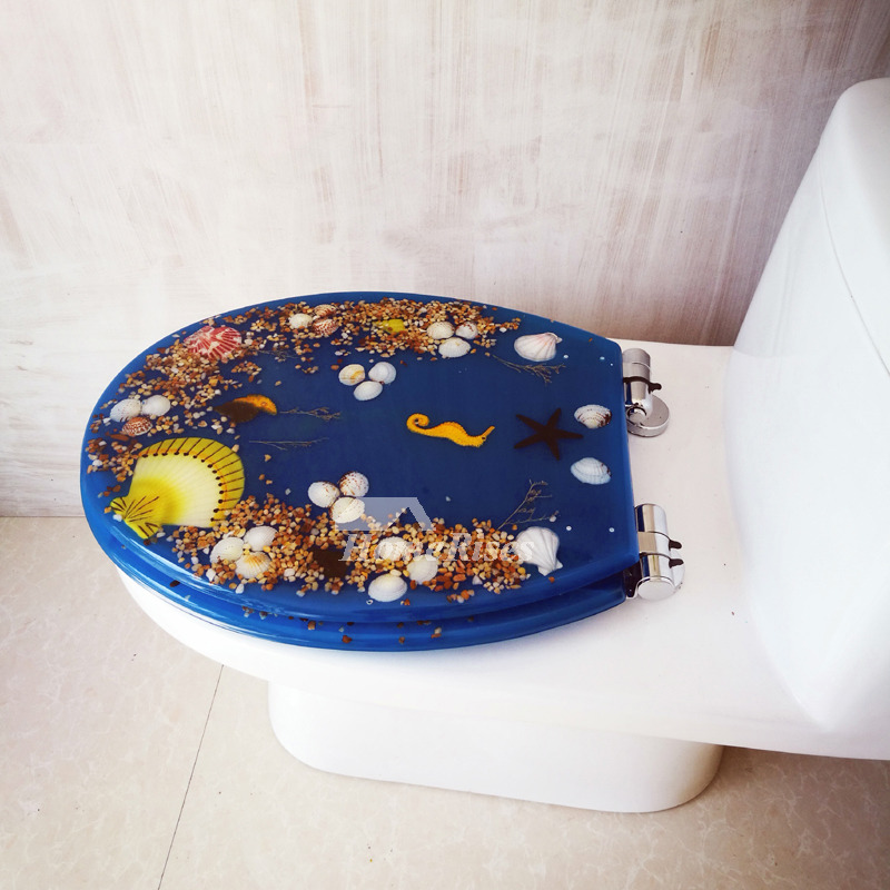 Best Blue Resin Oval Toilet Seat Fancy Seashell Decorative