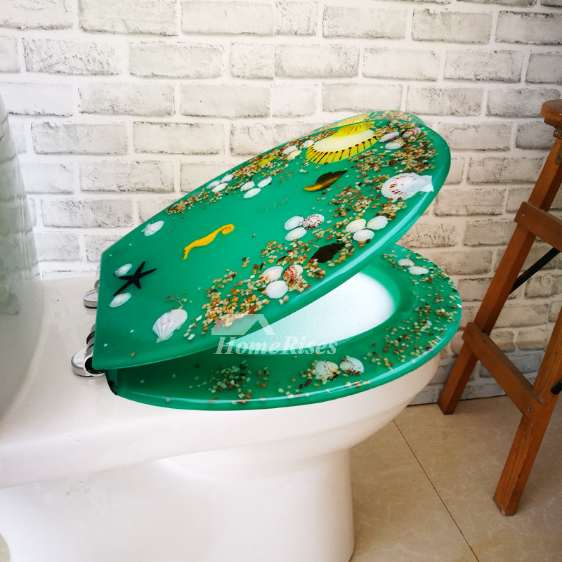 Best Green Resin Oval Slow Close Toilet Seat Funky