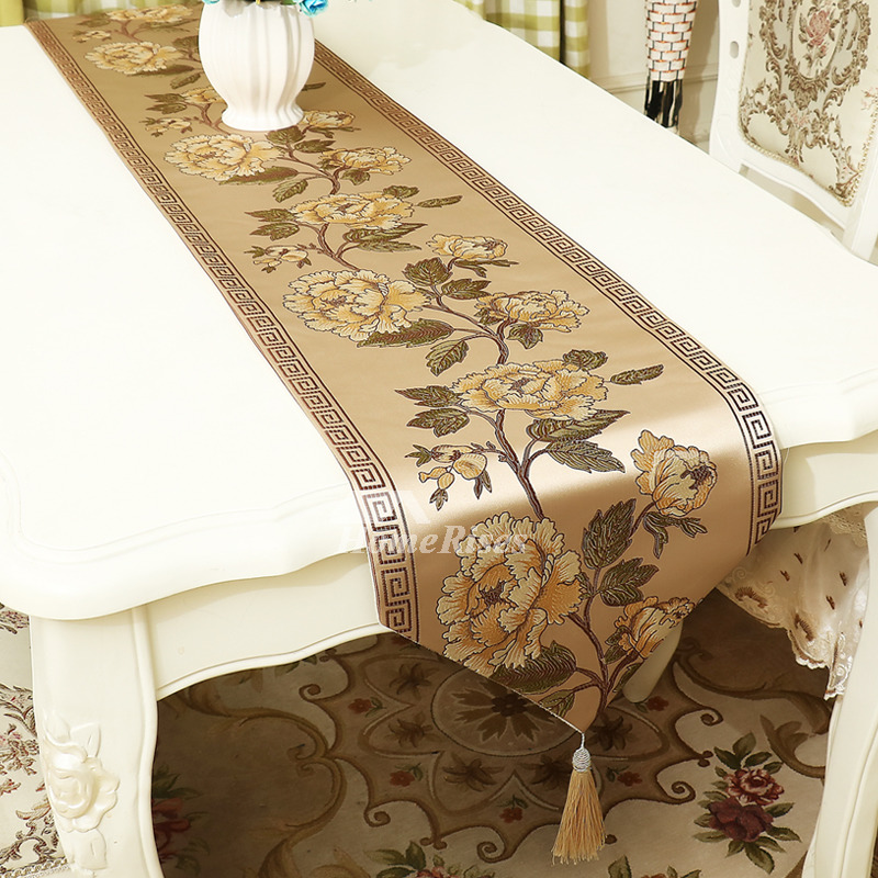European Modern Short Long Floral Table Runner Dining Room Jacquard