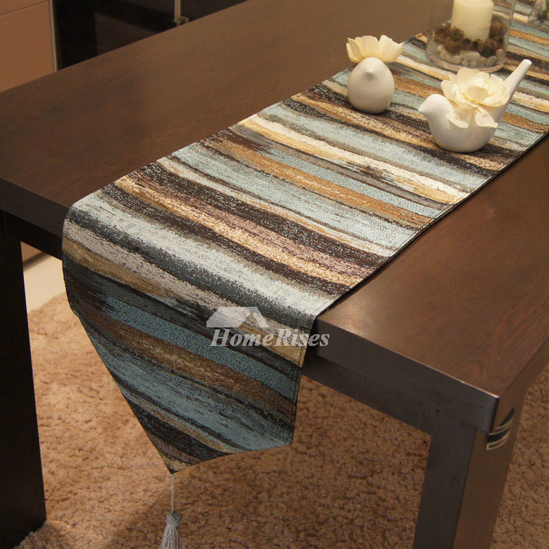 Coffee Table Runner.Striped Metallic Lustrous Luxury Table Runner Unique Coffee Kitchen