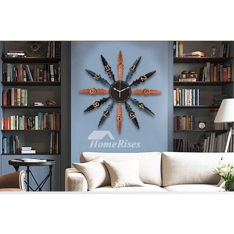 Art Deco Wall Clock 20 Inch ins Big Creative Metal Decorative Leaf